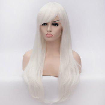 White Long Lolita Style Heat Resistant Synthetic Trendy Side Bang Wave Capless Cosplay Wig - WHITE