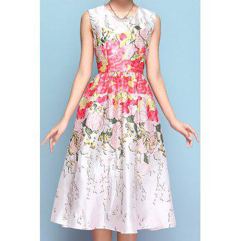 Elegant Style Jewel Neck Floral Print A-Line Sleeveless Midi Dress For Women