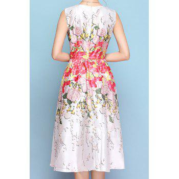 Elegant Style Jewel Neck Floral Print A-Line Sleeveless Midi Dress For Women - WHITE M