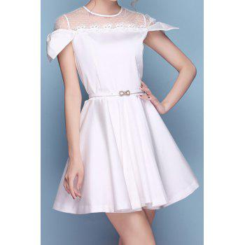 Sweet Style Jewel Neck Lace Splicing Openwork Belt Short Sleeve Dress For Women