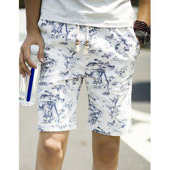 Summer Straight Leg Loose-Fitting Chinese Flower Print Lace-Up Men's Linen Blended Shorts