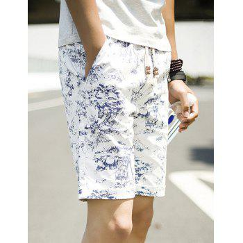 Summer Straight Leg Loose-Fitting Chinese Flower Print Lace-Up Men's Linen Blended Shorts - XL XL