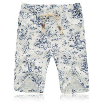 Summer Straight Leg Loose-Fitting Chinese Flower Print Lace-Up Men's Linen Blended Shorts - COLORMIX COLORMIX