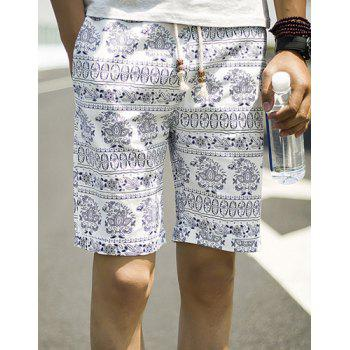 Summer Necessary Straight Leg Loose Fit Ethnic Print Lace-Up Men's Cotton+Linen Shorts