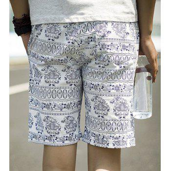 Summer Necessary Straight Leg Loose Fit Ethnic Print Lace-Up Men's Cotton+Linen Shorts - XL XL