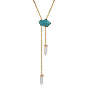Classic Retro Turquoise Geometric Sweater Chain Necklace For Women - GOLDEN GOLDEN