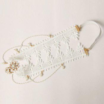 Classic Retro Lace Faux Pearl Hairband For Women -  WHITE