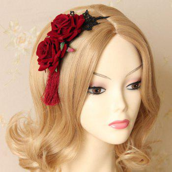 Retro Classic Lace Flower Leaf Hairband For Women - DEEP RED