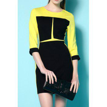 Stylish Round Neck 3/4 Sleeve Color Block Slimming Women's Dress - YELLOW S