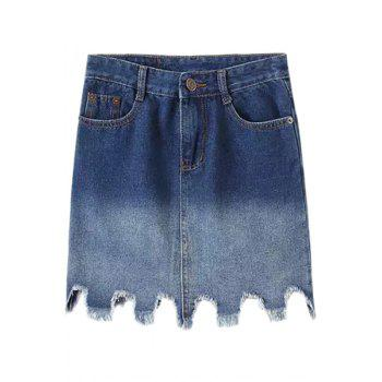 Fashionable Bleach Wash Ombre Asymmetrical Denim Skirt For Women