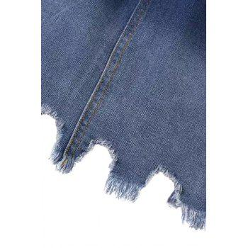 Fashionable Bleach Wash Ombre Asymmetrical Denim Skirt For Women - BLUE M