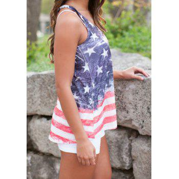 Stylish Scoop Neck Star and Stripe Print Women's Tank Top - COLORMIX COLORMIX