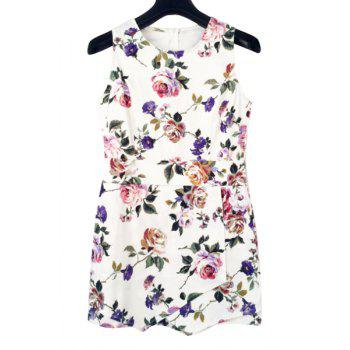 Sweet Style Jewel Neck Floral Print Sleeveless Playsuit For Women