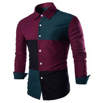 Slimming Shirt Collar Trendy Color Block Stitching Long Sleeve Cotton Blend Men's Shirt