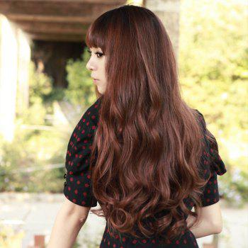 Fluffy Long Heat Resistant Synthetic Charming Wave Full Bang Capless Wig For Women - DEEP BROWN