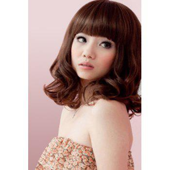Fashion Synthetic Towheaded Long Wavy Full Bang Cute Style Charming Women's Capless Wig - DEEP BROWN