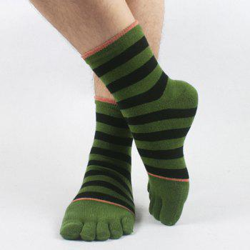 Pair of Stylish Various Stripes Pattern Separate Toe Men's Knitted Socks