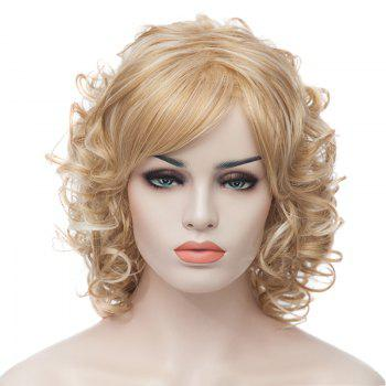 Medium Curly Trendy Fluffy Light Blonde Charming Synthetic Women's Capless Wig - LIGHT GOLD LIGHT GOLD
