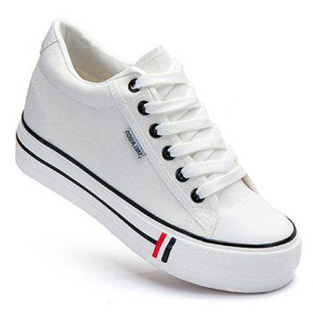 Preppy Style Lace-Up and Round Toe Design Canvas Shoes For Women