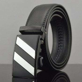 Stylish Striped Alloy Embellished Faux Leather Men's Belt