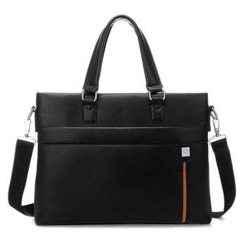 Fashionable PU Leather and Color Block Design Briefcase For Men - BLACK BLACK