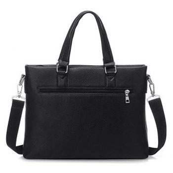 Fashionable PU Leather and Color Block Design Briefcase For Men - BLACK