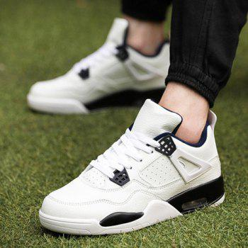 Fashion Round Toe and Color Block Design Athletic Shoes For Men - WHITE 43