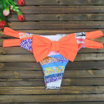 Sexy Color Spliced Bowknot Embellished Women's Briefs