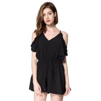 Alluring V-Neck Short Sleeve Solid Color Off-The-Shoulder Women's Romper