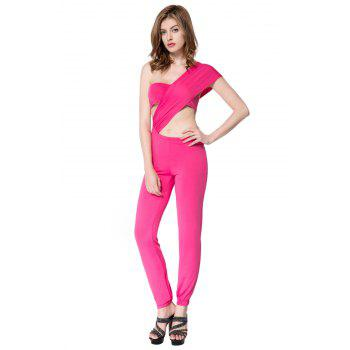 Sexy Women's One Shoulder Solid Color Jumpsuit - PINK S