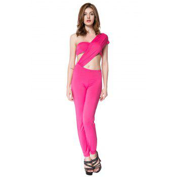 Sexy Women's One Shoulder Solid Color Jumpsuit
