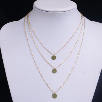 Layered Round Pendant Necklace - GOLDEN