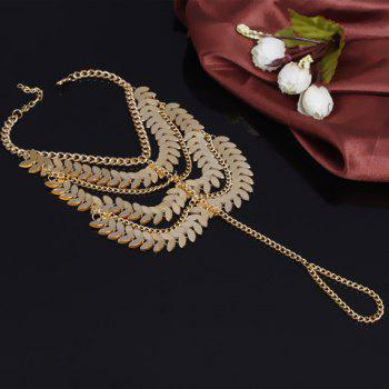 Stylish Chic Leaf Tassel Layered Anklet - GOLDEN
