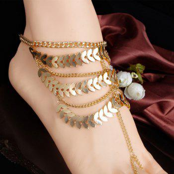 Stylish Chic Leaf Tassel Layered Anklet