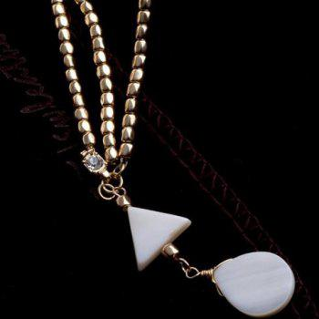 Fashionable Bohemian Style Triangle and Waterdrop Shape Hairband For Women - WHITE/GOLDEN