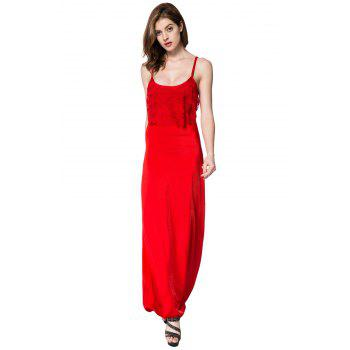 Spaghetti Strap Sleeveless Spliced Solid Color Dress