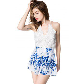 Stylish Plunging Neck Sleeveless Backless Floral Print Women's Romper