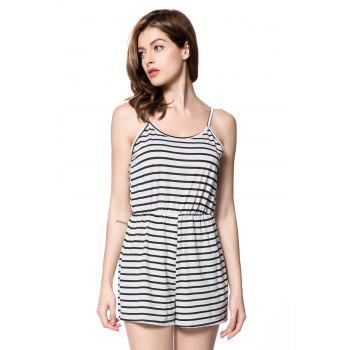 Trendy Spaghetti Strap Backless Striped Women's Romper