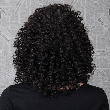 Top Quality Natural Black Synthetic Hair Outstanding Medium Length Women's Kinky Curly Afro Wig - BLACK