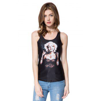 Stylish Slimming Scoop Neck Figure Print Tank Top For Women