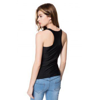 Stylish Slimming Scoop Neck Figure Print Tank Top For Women - BLACK ONE SIZE(FIT SIZE XS TO M)