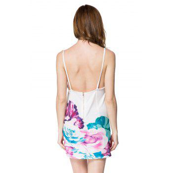 Stylish Spaghetti Strap Floral Print Backless Women's Dress - WHITE WHITE