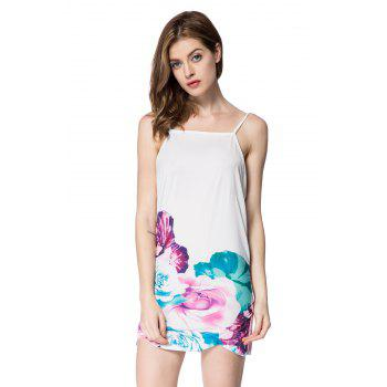 Stylish Spaghetti Strap Floral Print Backless Women's Dress - WHITE L