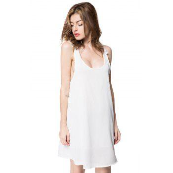 Sexy V-Neck Sleeveless Laciness Backless Women's Dress - WHITE WHITE