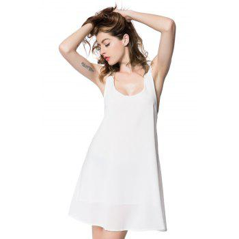 Sexy V-Neck Sleeveless Laciness Backless Women's Dress - M M