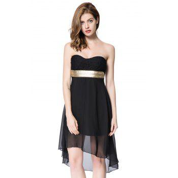 Strapless Lace Spliced Irregular Hem Sheer Club Dresses For Women