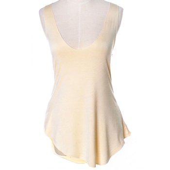 Brief Low-Cut Scoop Neck Candy Color Tank Top For Women