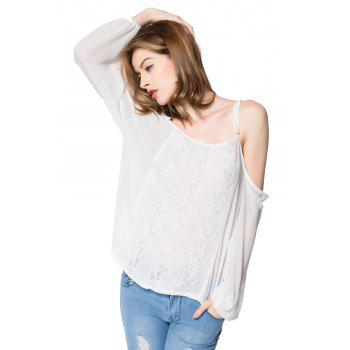 Spaghetti Strap Long Sleeve Lace Blouse For Women - WHITE XL