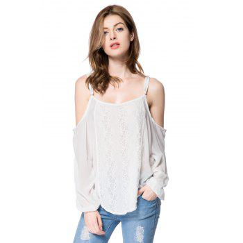 Spaghetti Strap Long Sleeve Lace Blouse For Women - WHITE WHITE