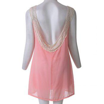 Sexy Sleeveless Scoop Neck Backless Chiffon Women's Dress - PINK XL
